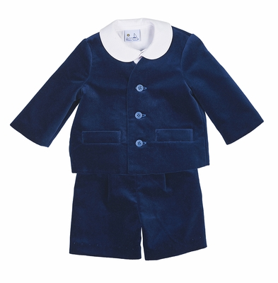 Florence Eiseman Boys 3 Piece Eton Suit - Royal Blue Velvet