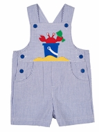 Florence Eiseman Baby / Toddler Boys Royal Blue Seersucker Shortall with Sand Crab