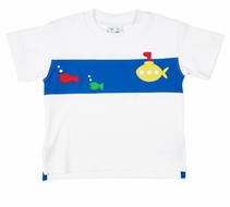 Florence Eiseman Baby / Toddler Boys Shirt -  Blue Band with Fish & Submarine