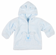 Florence Eiseman Baby / Toddler Boys Teddy Bear Face Hoodie - Blue Plush Fleece
