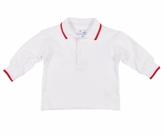 Florence Eiseman Baby / Toddler Boys White Long Sleeved Polo Shirt - Red Tipping