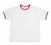 Florence Eiseman Baby / Toddler Boys White T-Shirt - Tipped in Green / Red / Blue