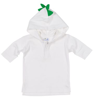 Florence Eiseman Baby / Toddler Boys White Cover Up - Hood with Green Alligator Spikes
