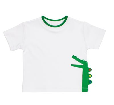 Florence Eiseman Baby / Toddler Boys White Shirt - Green Alligator
