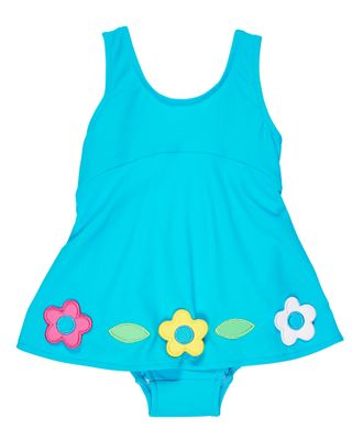 Florence Eiseman Baby / Toddler Girls Blue Skirted Swimsuit with Flowers