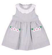 Florence Eiseman Baby / Toddler Girls Gray Seersucker Dress - Flower Pockets