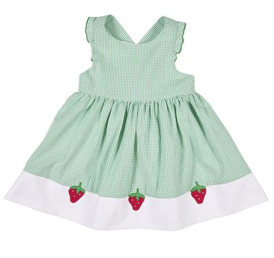 Florence Eiseman Baby / Toddler Girls Green Check Seersucker Dress - Strawberry