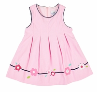 Florence Eiseman Baby / Toddler Girls Pink Corduroy Jumper Dress with Flowers