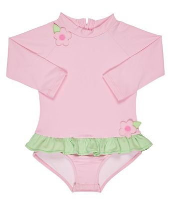 Florence Eiseman Baby / Toddler Girls Pink Rash Guard Ruffle Swimsuit