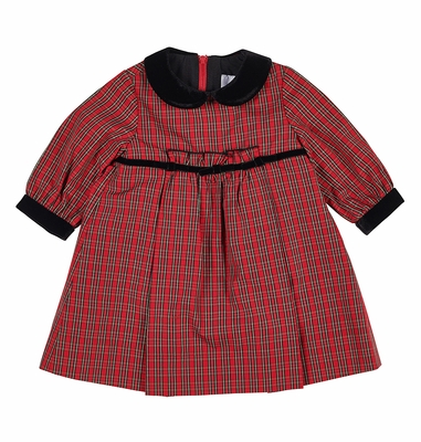 Florence Eiseman Baby / Toddler Girls Red Holiday Plaid Dress - Velvet Trim