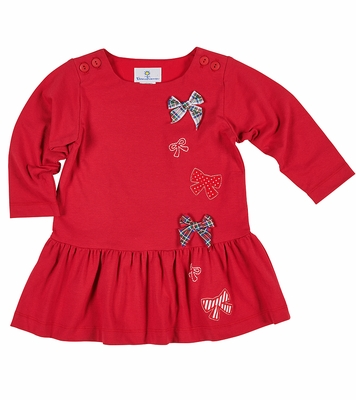 Florence Eiseman Girls Red Knit Jersey Dress with Bows