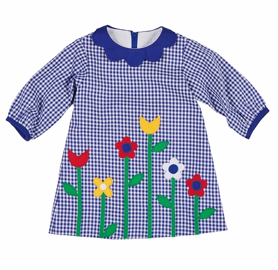 Florence Eiseman Baby / Toddler Girls Royal Blue Check Dress with Flowers