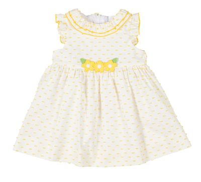Florence Eiseman Baby / Toddler Girls Sunshine Yellow Ruffle Dress with Flowers