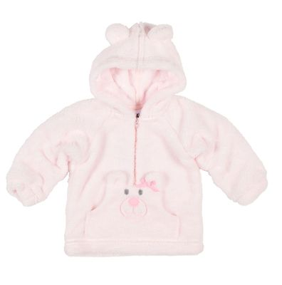 Florence Eiseman Baby / Toddler Girls Teddy Bear Face Hoodie - Pink Plush Fleece