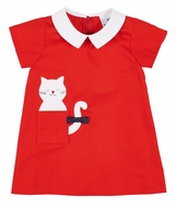 Florence Eiseman Baby / Toddler Girls Vintage Inspired Red Dress with Cat