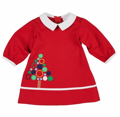 Florence Eiseman Baby / Toddler Girls Vintage Red Circle Christmas Tree Dress