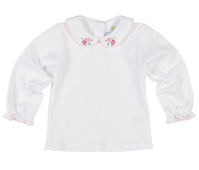 Florence Eiseman Baby / Toddler Girls White Knit Blouse - Embroidered Flowers