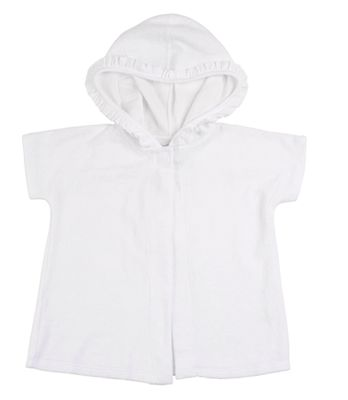 Florence Eiseman Girls White Terry Cover Up with Ruffle Hood