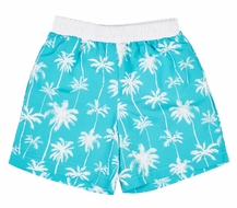 Florence Eiseman Boys Aqua / White Palm Tree Print Swim Trunks
