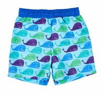 Florence Eiseman Boys Blue / Green Whale Print Swim Trunks