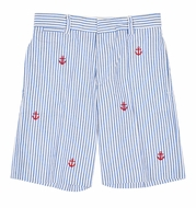 Florence Eiseman Boys Blue Seersucker Shorts - Embroidered Red Anchors