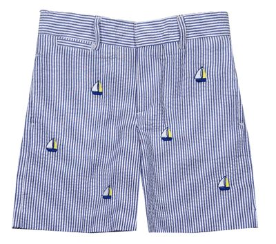 Florence Eiseman Boys Blue Seersucker Shorts - Embroidered Sailboats