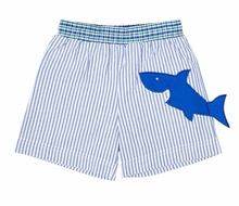 Florence Eiseman Boys Blue Stripe Seersucker Swim Trunks - Shark