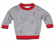 Florence Eiseman Boys Gray / Red Sweater - Embroidered Christmas Nutcracker Soldiers