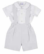 Florence Eiseman Boys Gray / White Pin Stripe Pique Suspender Shorts Set