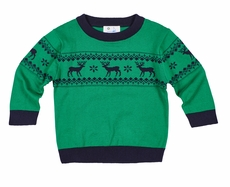 Florence Eiseman Boys Green / Navy Blue Intarsia Christmas Reindeer Fairisle Sweater