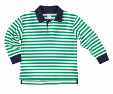 Florence Eiseman Boys Green Stripe Knit Polo Shirt - Navy Blue Collar