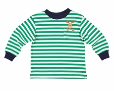 Florence Eiseman Boys Green Stripe Knit Shirt - Reindeer Pocket