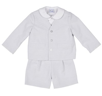 Florence Eiseman Boys Grey / White Pin Stripe Pique Three Piece Eton Suit