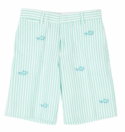 Florence Eiseman Boys Jade Green Seersucker Shorts - Embroidered Sharks