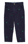 Florence Eiseman Boys Navy Blue Corduroy Pants - Embroidered Reindeer