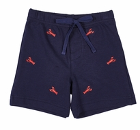 Florence Eiseman Boys Navy Blue French Terry Shorts with Embroidered Red Lobsters