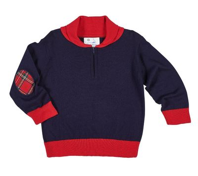 Florence Eiseman Boys Navy Blue / Red Shawl Neck Sweater - Elbow Patches