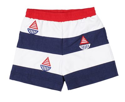 Florence Eiseman Boys Navy Blue / Red Stripe Sailboat Swim Trunks