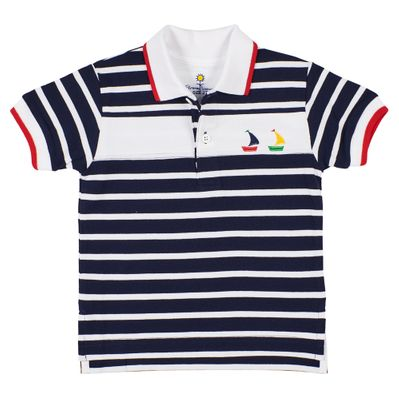 Florence Eiseman Boys Navy Blue Stripe Pique Boats Polo Shirt