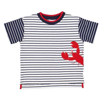 Florence Eiseman Boys Navy Blue Stripe Shirt - Red Lobster