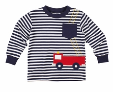 Florence Eiseman Boys Navy Blue Striped Firetruck Shirt with Pocket