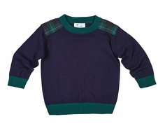 Florence Eiseman Boys Navy Blue Sweater - Blackwatch Plaid Shoulders