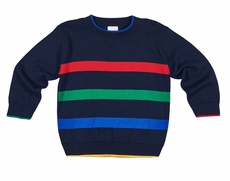 Florence Eiseman Boys Navy Blue Sweater - Colorful Bands