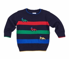 Florence Eiseman Boys Navy Blue Sweater - Colorful Intarsia Race Cars