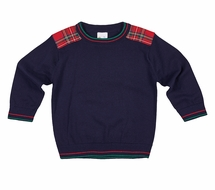 Florence Eiseman Boys Navy Blue Sweater with Red Tartan Plaid Shoulder Patches