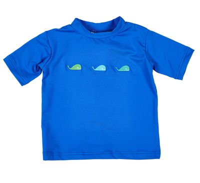 Florence Eiseman Boys Rash Guard Shirt -  Royal Blue with Whales