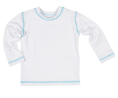 Florence Eiseman Boys Rash Guard Shirt -  White with Aqua Stitching