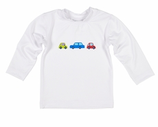 Florence Eiseman Baby / Toddler Boys Rash Guard Shirt -  White with Colorful Cars