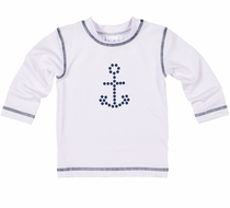 Florence Eiseman Boys Rash Guard Shirt -  White with Navy Blue Anchor