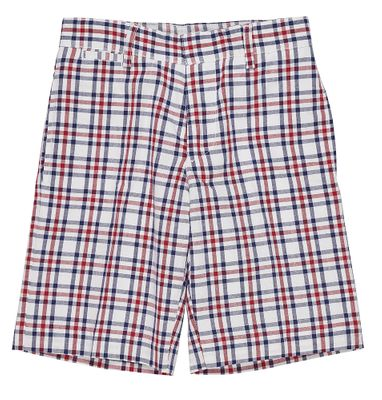 Florence Eiseman Boys Red / Navy Blue Patriotic Plaid Shorts